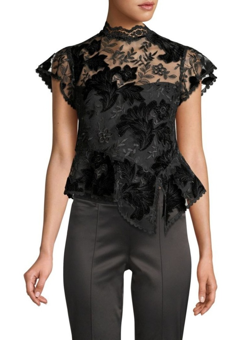 b2c664db Nanette Lepore Trickery Floral-Embroidered Peplum Top | Casual Shirts