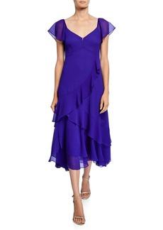 Nanette Lepore V-Neck Short-Sleeve Midi Flutter Dress