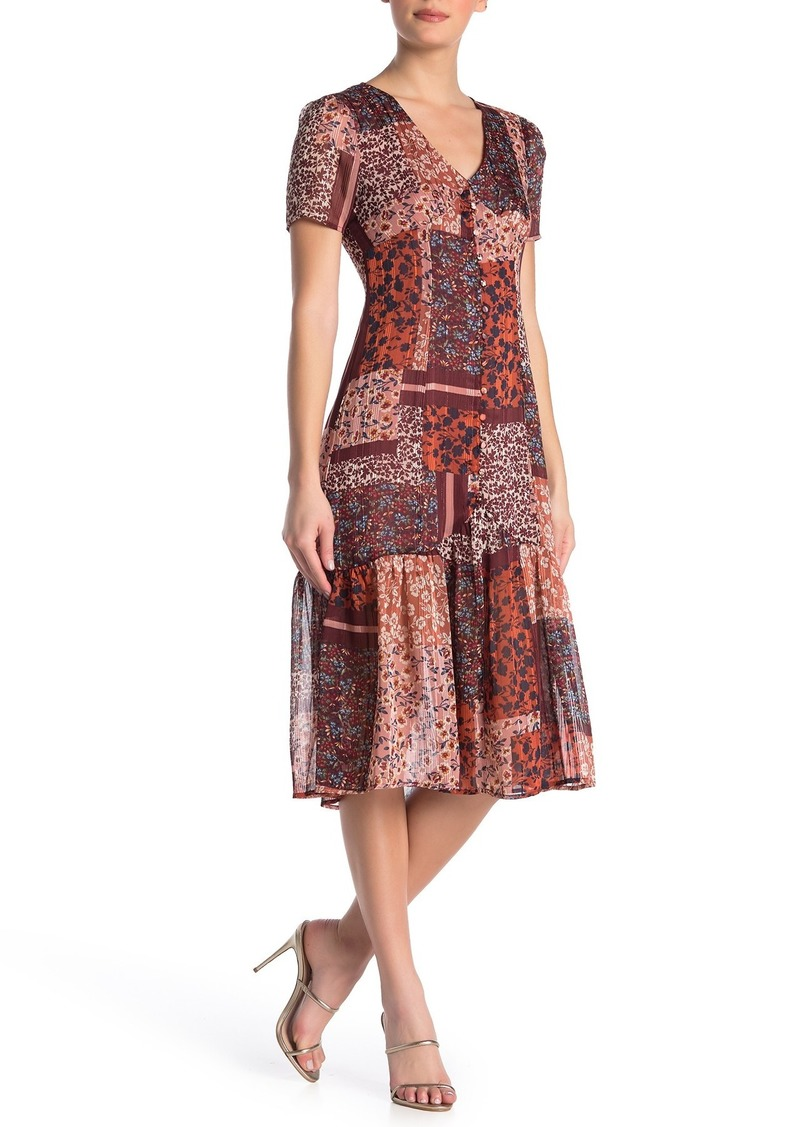 Nanette Lepore V-Neck Short Sleeve Print Dress