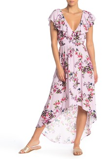 Nanette Lepore Victorian Flower Ruffled High/Low Cover-Up Dress