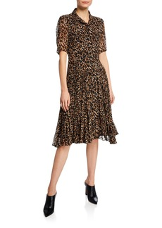 Nanette Lepore Wildlife Button-Front Short-Sleeve Leopard-Print A-Line Dress