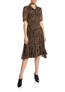 Nanette Lepore Wildlife Button-Front Short-Sleeve Leopard-Print A-Line Dress