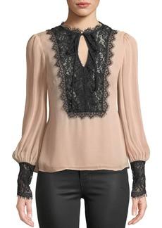 Nanette Lepore Wildwoman Silk Top w/ Lace Details