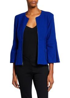 Nanette Lepore Zip-Front Bell-Sleeve Textured Jacket