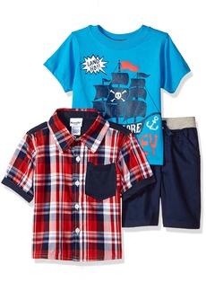 Nannette Boys' Toddler 3 Piece Woven Shirt and tee Short Set