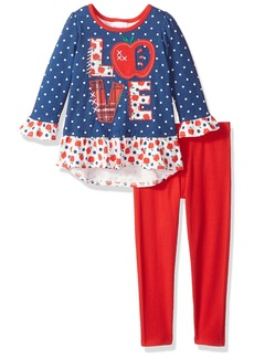 Nannette Girls' Little 2 Piece Graphic Top and Legging Set