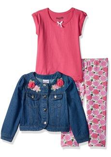 Nannette Girls' Little 3 Piece Denim Jacket Outfit Set