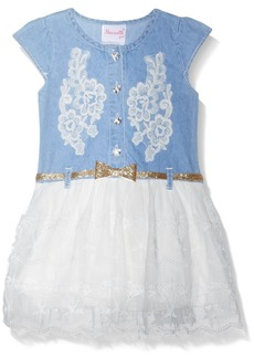 Nannette Girls' Little Denim Dress with Crochet Trim