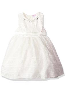Nannette Girls' Little Embroidered Organza Dress with Jewel Neckline
