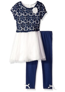 Nannette Little Girls' Toddler 2 Piece Fashion Legging Set with Crochet Lace
