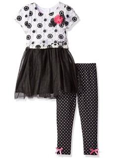 Nannette Little Girls' Toddler 2 Piece Fashion Legging Set with Crochet Lace Overlay