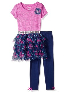Nannette Little Girls' Toddler 2 Piece Fashion Legging Set with Space Dyed Top