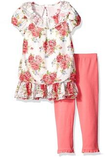 Nannette Little Girls' Toddler 2 Piece Floral Chiffon Bubble Dress Set with Legging
