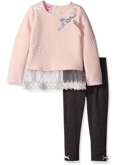 Nannette Little Girls' 2 Piece Quilted Knit Athlesiure Set and Legging