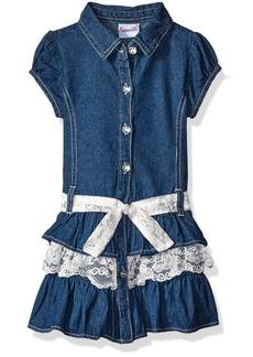 Nannette Little Girls' Toddler Short Sleeved Denim Dress with Lace Ruffles and Belt