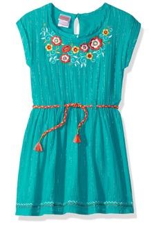 Nannette Girls' Little Metallic Gauze Dress with Belt