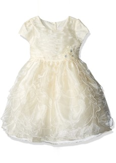 Nannette Girls' Little Organza Dress with Tucked Bodice and Tiered Petals