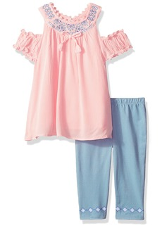 Nannette Girls' Toddler 2 Piece Crinkle Gauze Embelished Rhinestons and Knit Denim Jegging