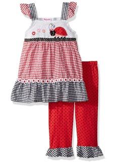 Nannette Girls' Toddler 2 Piece seer Sucker top Legging Outfit Set red