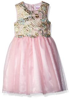 Nannette Girls' Toddler Brocade mesh Dress