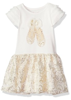 Nannette Girls' Toddler Knit Dress with 3D Applique Bodice and Lace Tutu Skirt