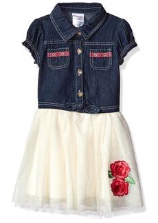 Nannette Girls' Toddler Short Sleeve Denim Dress with Tulle