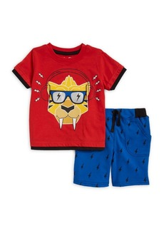Nannette Little Boy's Graphic Crewneck Tee and Printed Shorts Set