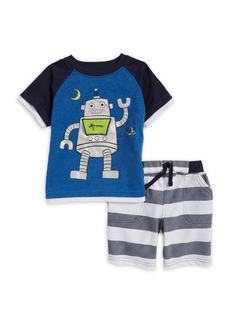 Nannette Little Boy's Graphic Crewneck Tee and Striped Shorts Set