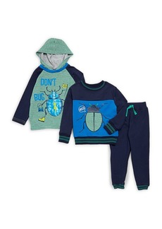 Nannette Little Boy's Three-Piece Bug Pajamas Set