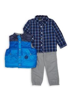 Nannette Little Boy's Three-Piece Colorblock Vest, Plaid Shirt & Pants Set