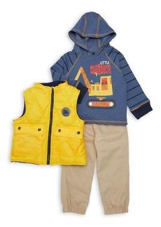Nannette Little Boy's Three-Piece Construction Vest, Hoodie & Pants Set