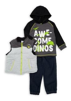 Nannette Little Boy's Three-Piece Dino Vest, Hoodie & Jeans Set