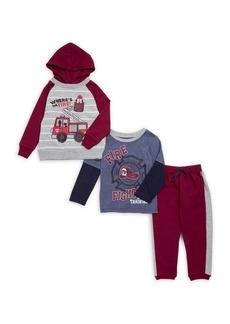 Nannette Little Boy's Three-Piece Fire Dogs Pajamas Set