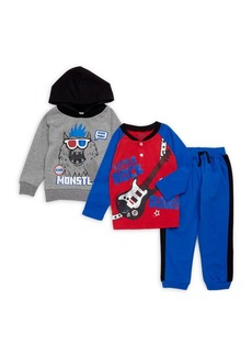 Nannette Little Boy's Three-Piece Monster Pajamas Set