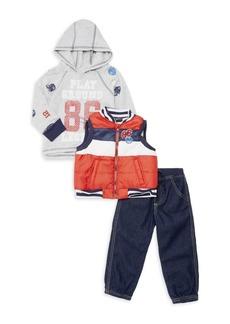 Nannette Little Boy's Three-Piece Playground Legend Hoodie, Vest & Jeans Set