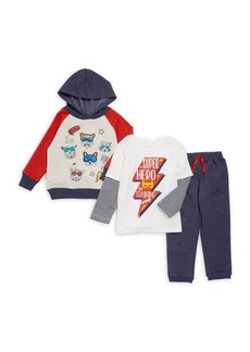 Nannette Little Boy's Three-Piece Super Hero in Training Pajamas Set
