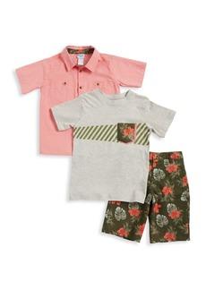 Nannette Little Boy's Three-Piece Tropical Print T-Shirt, Button-Down Shirt and Shorts Set