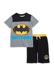 Nannette Little Boy's Two-Piece Batman Logo Tee and Shorts Set
