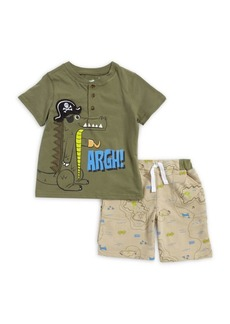 Nannette Little Boy's Two-Piece Pirate Graphic Henley Tee & Shorts Set