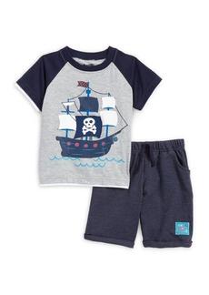 Nannette Little Boy's Two-Piece Pirate Ship Raglan Tee & Shorts Set