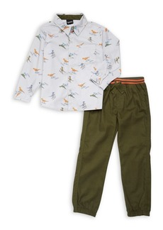 Nannette Little Boy's Two-Piece Printed Button-Down Shirt and Pants Set
