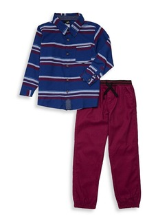 Nannette Little Boy's Two-Piece Striped Shirt Set