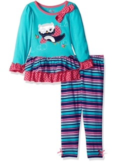 Nannette Little Girls' 2 Piece Bird Legging Set with Two Tiered Ruffled Mesh