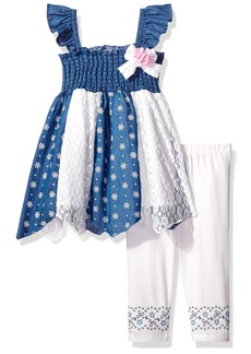 Nannette Girls' Little 2 Piece Chambray Smocked Top with Embroidered Legging