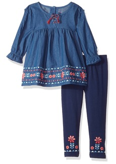 Nannette Girls' Little 2 Piece Chambray Top with Legging Set