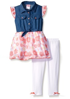 Nannette Little Girls' Toddler 2 Piece Chambray Top with Printed Chiffon Legging Set