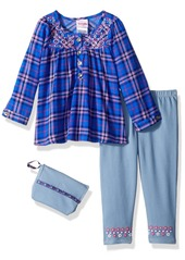 Nannette Girls' Little 2 Piece Embroidered Top and Jegging Set with Purse  6X