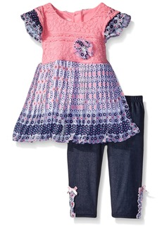 Nannette Little Girls' 2 Piece Eyelash Lace and Pleated Chiffon Legging Set