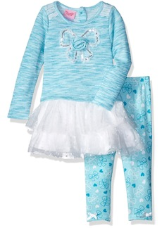 Nannette Little Girls' 2 Piece Fashion Legging Set with Spaced Dyed Top and Lace Trim