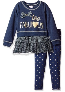 Nannette Girls' Little 2 Piece French Terry Crew Sweatshirt Legging Set